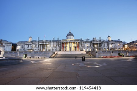 National Gallery and Trafalgar Square in the early morning - stock photo