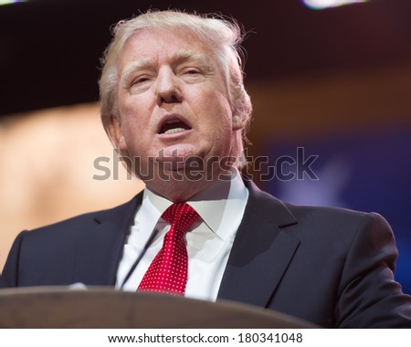NATIONAL HARBOR, MD -MARCH 6, 2014: Donald Trump speaks at the Conservative Political Action Conference (CPAC). - stock photo