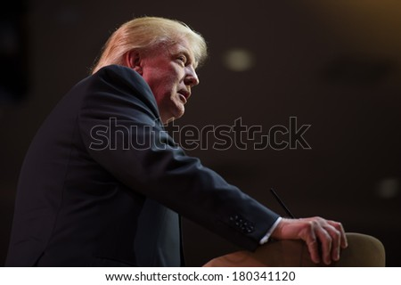NATIONAL HARBOR, MD - MARCH 6, 2014: Donald Trump speaks at the Conservative Political Action Conference (CPAC). - stock photo