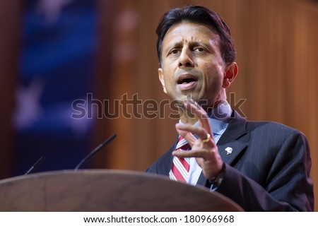 NATIONAL HARBOR, MD - MARCH 6, 2014: Louisiana Governor Bobby Jindal speaks at the Conservative Political Action Conference (CPAC). - stock photo