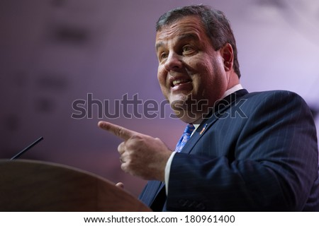 NATIONAL HARBOR, MD - MARCH 6, 2014: New Jersey Governor Chris Christie speaks at the Conservative Political Action Conference (CPAC). - stock photo