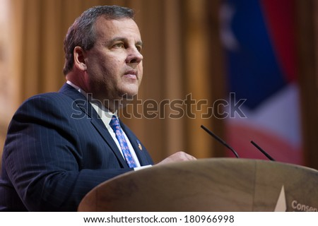 NATIONAL HARBOR, MD - MARCH 6, 2014: New Jersey Governor Chris Christie speaks at the Conservative Political Action Conference (CPAC).