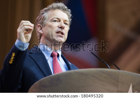NATIONAL HARBOR, MD - MARCH 7, 2014: Senator Rand Paul (R-KY) speaks at the Conservative Political Action Conference (CPAC).