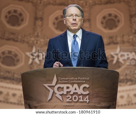 NATIONAL HARBOR, MD - MARCH 6, 2014: Wayne LaPierre, CEO of the National Rifle Association, speaks at the Conservative Political Action Conference (CPAC). - stock photo