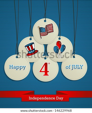 National Independence 4th July US concept hanging badges background. This illustration is layered for easy manipulation and custom coloring - stock photo