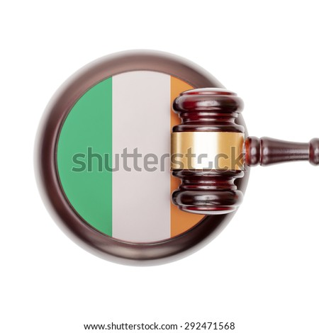 National legal system concept with flag on sound block  - Ireland - stock photo