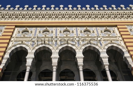 National library, details in sarajevo,  capital city of bosnia and herzegovina