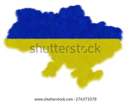 National map of Ukraine - stock photo