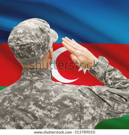 National military forces with flag on background conceptual series - Azerbaijan - stock photo