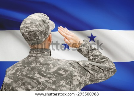National military forces with flag on background conceptual series - Honduras - stock photo
