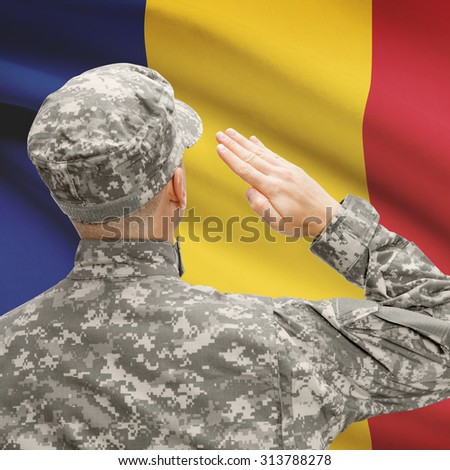 National military forces with flag on background conceptual series - Romania - stock photo