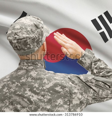National military forces with flag on background conceptual series - South Korea - stock photo