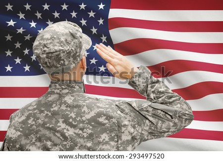 National military forces with flag on background conceptual series - United States - stock photo