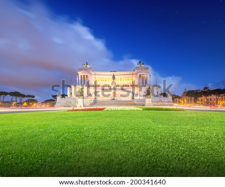 National Monument to Victor Emmanuel II (Monumento Nazionale a Vittorio Emanuele II, Altare della Patria, Altar of the Fatherland) in Venice square Rome, Italy - stock photo