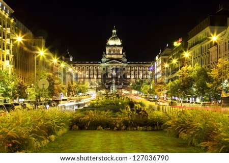 National Museum on Wenceslas Square at night in Prague. Czech Republic - stock photo