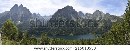 National Park Aiguestortes lake Maurici Pyrenees Catalonia Spain - stock photo