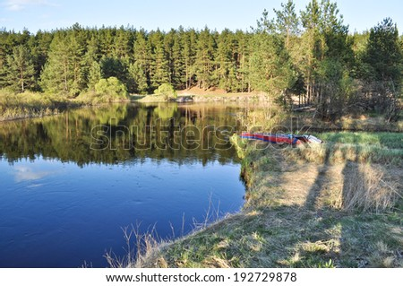 "National Park ""Meshchera"" in the Ryazan region, the PRA river. Russia.  River landscape Sunny spring afternoon."