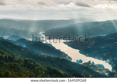 National park of Geres in Portugal overview over the mountains. - stock photo