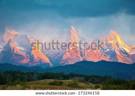National Park Torres del Paine in southern Chile. Sunrise on a windy day - stock photo