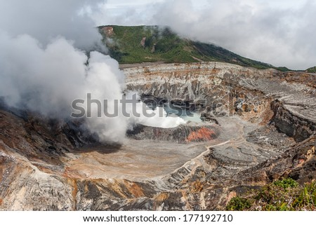 National Park Volcano Poas in Costa Rica - stock photo
