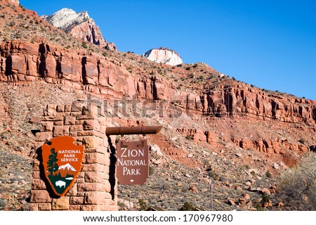 National Parks Service Entrance to Zion National Park Utah - stock photo