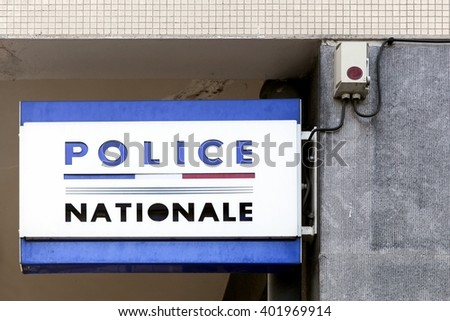 National police sign in France - stock photo