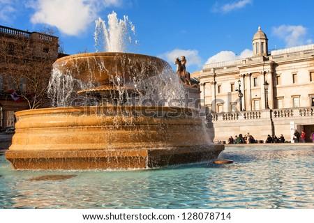 National portrait gallery and Trafalgar Square - stock photo