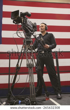 National Press and TV cameramen at an event hosted by First Lady Michelle Obama, a President Obama campaign rally at Orr Middle School in Las Vegas, October 26, 2012  - stock photo