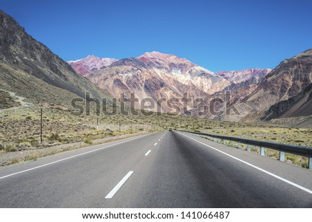 National Road 7 passing by the Department of Lujan de Cuyo in Mendoza, Argentina
