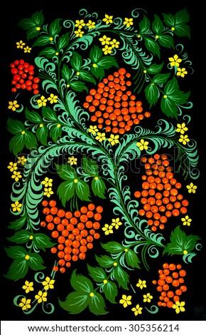 national russian hohloma handmade painted pattern - stock photo