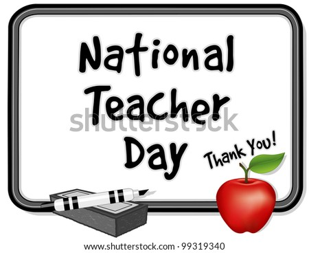 National Teacher Day.  Held annually since 1984 on Tuesday of first full week of May. Thank you on whiteboard. red apple, marker pen, eraser. - stock photo