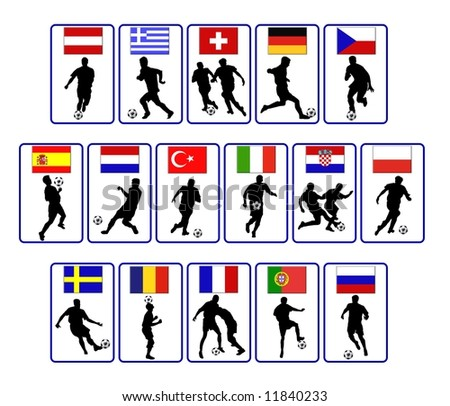 national team flags of the european soccer championship 2008 - stock photo