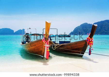 national Thailands boat at islands - stock photo