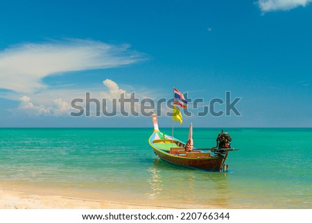National Thailands long tailed boat  - stock photo