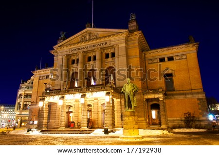 National theatre in Oslo at winter night - stock photo