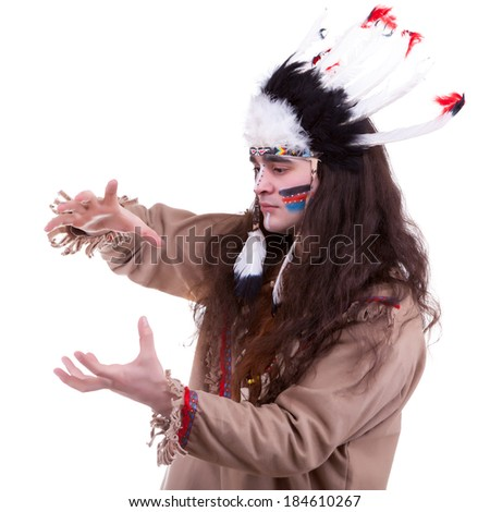 Native american chief isolated on white background. Professional make up