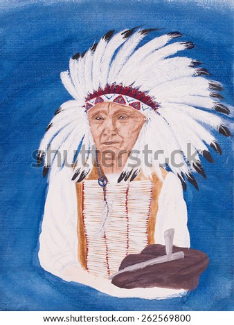 Native American indian called red cloud painting on a blue background - stock photo