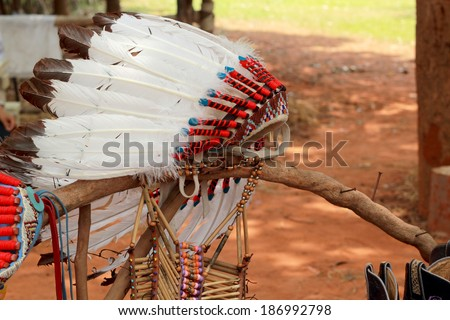 native american indian chief headdress - stock photo