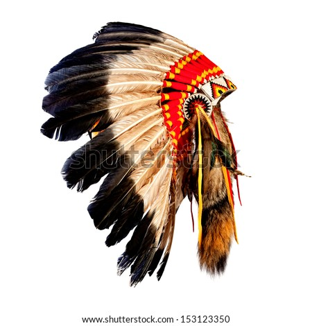 native american indian chief headdress (indian chief mascot, indian tribal headdress, indian headdress) - stock photo