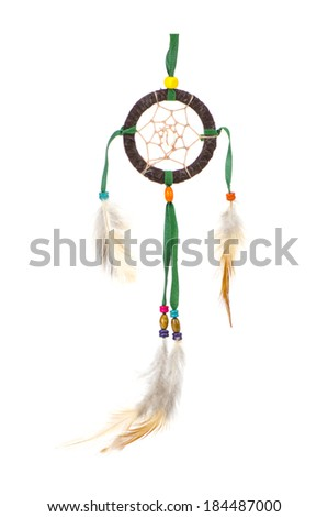 Native american indian dreamcatcher over white background - stock photo