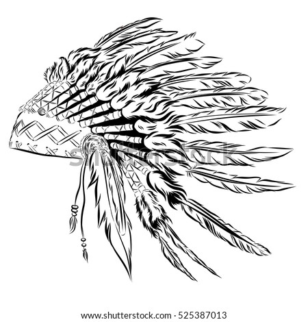 Native American Indian Headdress With Feathers In A Sketch Style For Thanksgiving Day Illustration