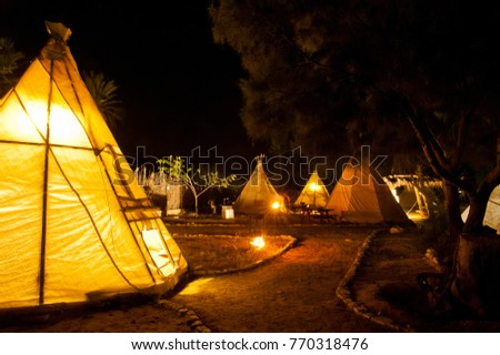 Native American Indian tent at night at the desert & Native American Indian Tent Night Desert Stock Photo 770318476 ...