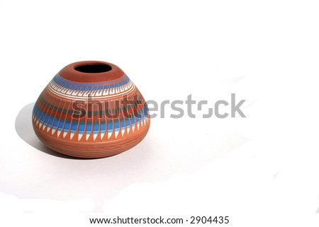 Native American Water Vessel Isolated on White Background - stock photo