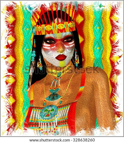 Native American Woman in our unique digital art style. Brilliant colors come together to decorate this modern art image of a beautiful American Indian girl with feathers and a painted face. - stock photo