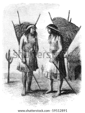 "Native americans from Pimo or Pima tribe. Illustration originally published in Hesse-Wartegg's ""Nord Amerika"", swedish edition published in 1880. - stock photo"