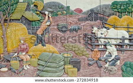 native culture Thai stucco on the temple wall, Thailand - stock photo