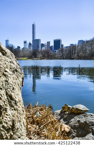 Native New Yorkers on the Shore of The Lake, Central Park, Manhattan, New York