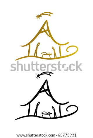 Nativity (christmas) symbol (two color versions included) - stock photo