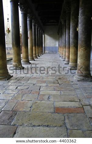 nativity church columns, bethlehem, west bank, palestine, israel - stock photo