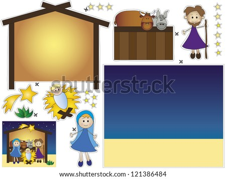 nativity cut and paste - stock photo
